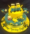 minion fiesta party time bananas presents stars yellow blue cake