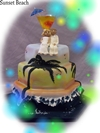 sunset beach wedding cake